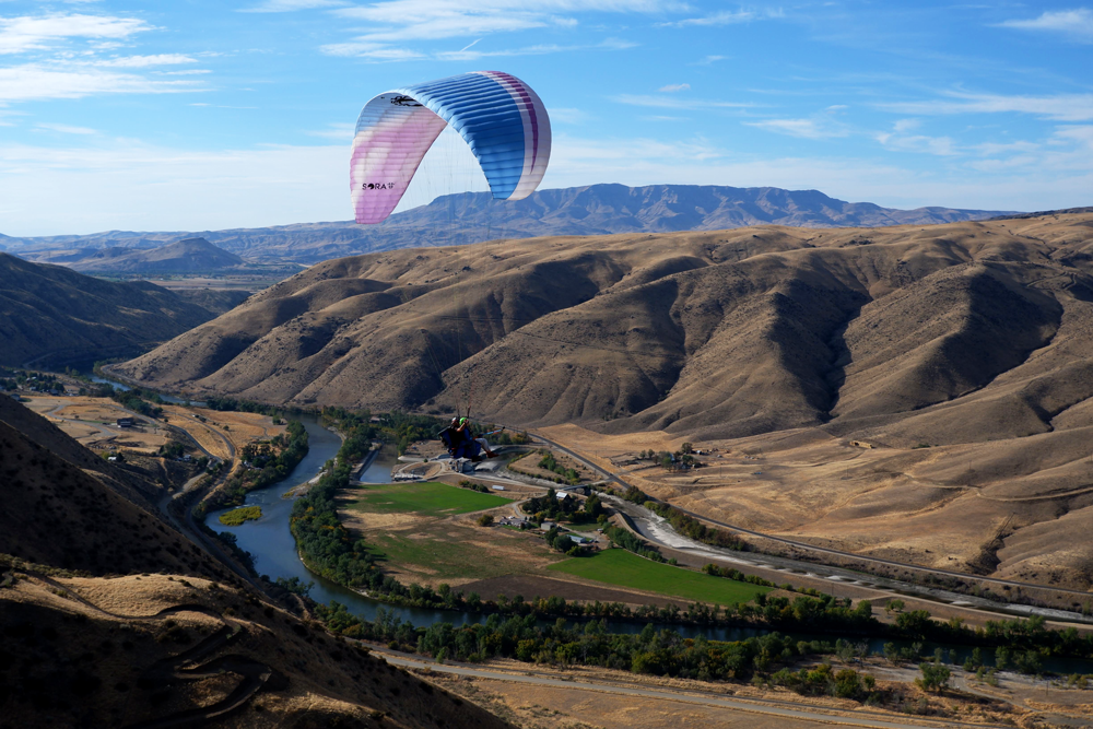 Justin Boer Tandem Paragliding Above The Payette River in Boise Idaho